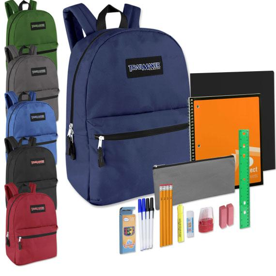 Backpack 17 in and 12 Pc School Supply Kit 4988SS Black