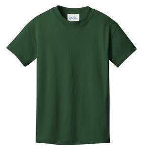 T-Shirt: Youth XS: Plain: Forest Green