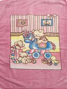 Blanket Baby 50x60365 Bear On Rocking Horse Pink