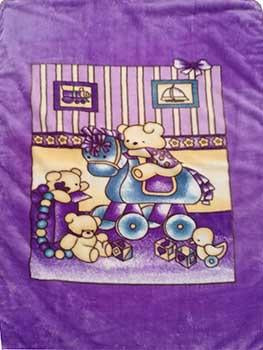 Blanket Baby 50x60365 Bear On Rocking Horse Purple