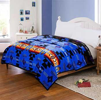 Blanket Queen 2PLY Flannel Southwest 16112 R. Blue