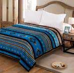 Blanket Queen 2PLY Reversible Silk Touch Turquoise Southwest 17426