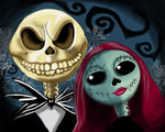 Blanket Queen Signature Select Jack and Sally Nightmare Skull Together Forever