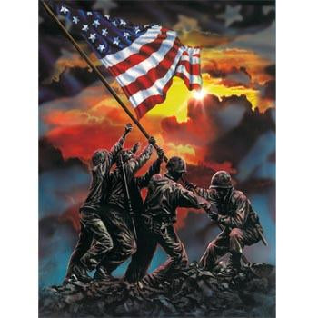 Blanket Queen Signature- Flag Ct- Marines Battle Flag