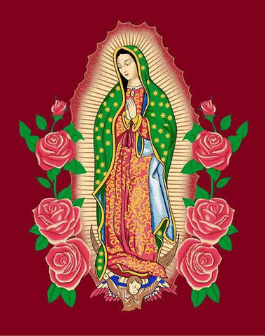Blanket Queen MIL - Hispanic Ct- Virgin Mary g2779 Burgundy