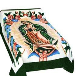 Blanket Queen MIL- Hispanic Ct- Guadalupe 1442 Green