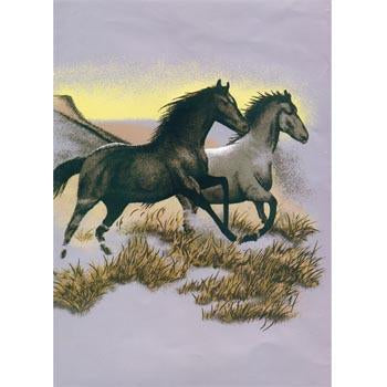 Blanket Queen MIL- Horse CT- 2 Running Horses G526