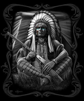 Blanket Queen DGA- Native Chief with Gun