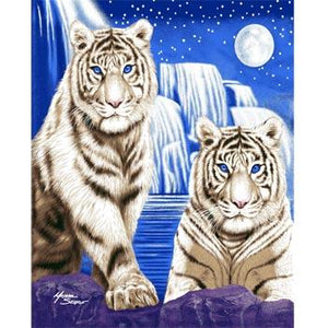 Blanket Queen Tiger Ct- White Tigers Waterfall Signature Select