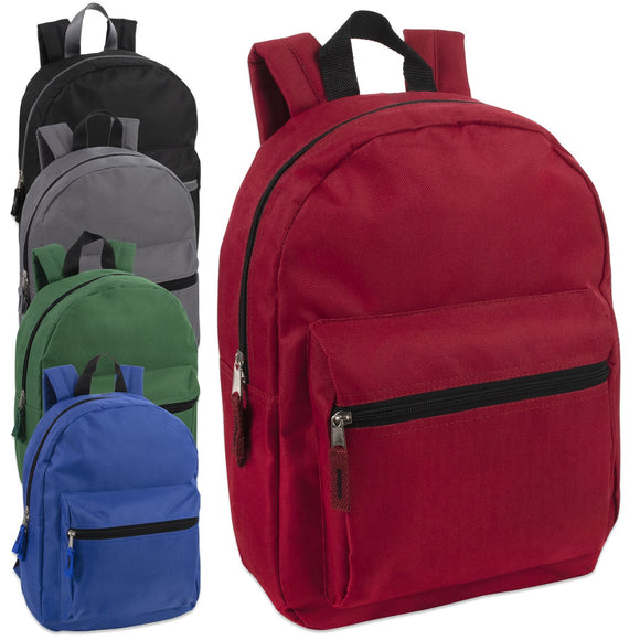Wholesale 15 Inch Basic Backpack 5 Color Assortment