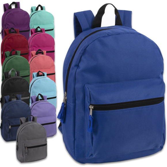 Wholesale 15 Inch Basic Backpack 12 Color Assortment