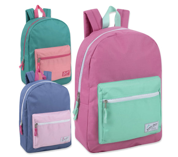 Wholesale Urban Sport 17 Inch Color Block Backpack - 3 Color Girls Assortment