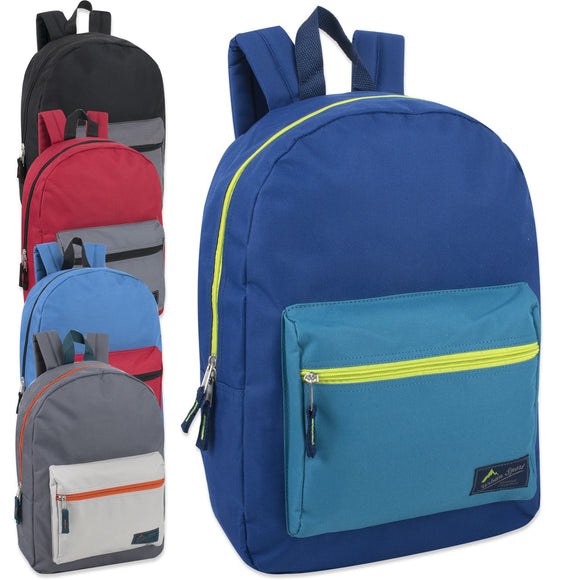 Wholesale Urban Sport 17 Inch Color Block Backpack - 5 Color Boys Assortment