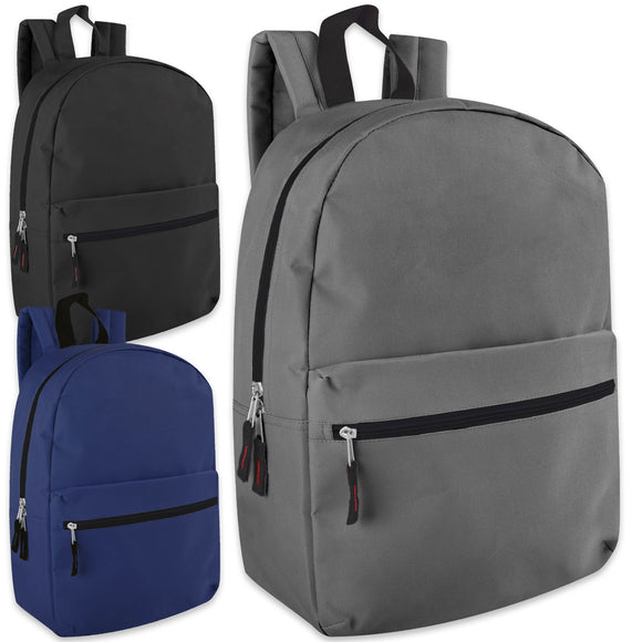 Wholesale 17 Inch Solid Backpack 3 Color Assortment