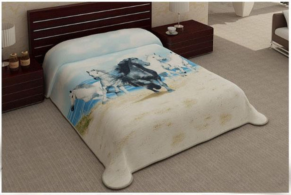 Blanket Queen 2PLY Cosmo- Horse Stallions on the Beach 348