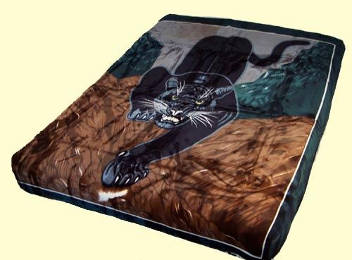 Blanket Queen Korean Panther Ct- Black Panther -Burgundy Border