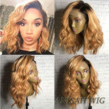 Short Bob Wavy 1b/27 Color Lace Front Human Hair Wigs/Full Lace Wigs
