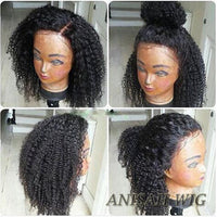 Short Curly Human Hair Bob Lace Front Wigs / 360 Lace Frontal Wig with Baby Hair