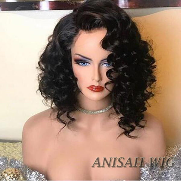 Short Bob Human Hair Wavy Lace Front Wigs / 360 Lace Frontal Wig