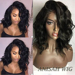 Human Hair Short Bob Wavy Lace Front Wigs / 360 Lace Frontal Wig with Baby Hair