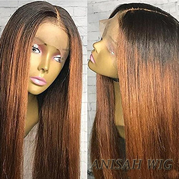 Ombre 1b/30 Color Straicght Human Hair Lace Front Wig/ Full Lace Wig
