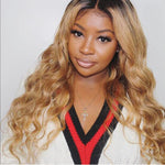 Ombre 1b/27 Body Wavy Human Hair Lace Front Wig/ Full Lace Wig