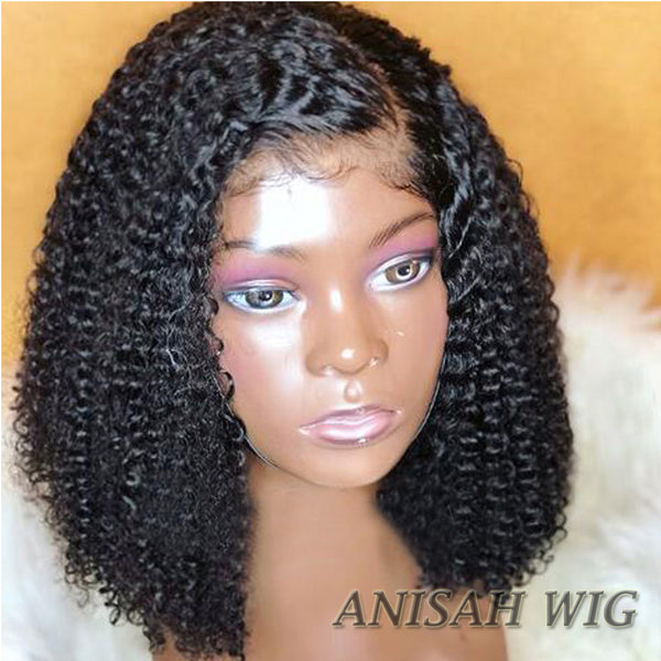 Curly Short Bob Lace Front Human Hair Wigs/