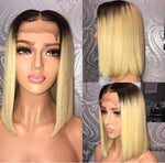 Ombre Blonde Human Hair Bob Wigs Straight Short Lace Front wig/Full Lace Wig