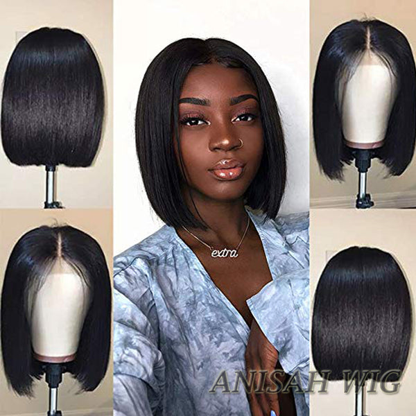 Short Human Hair Bob Wigs Straight Lace Front