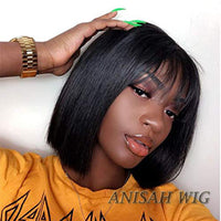 Short Human Hair Bob Lace Front wig/Full Lace Wig with Bangs