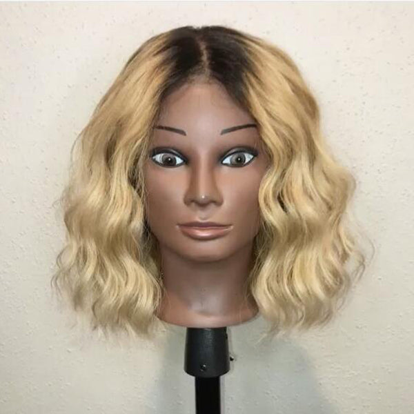 Blonde Ombre Human Hair Bob Wigs Short Lace