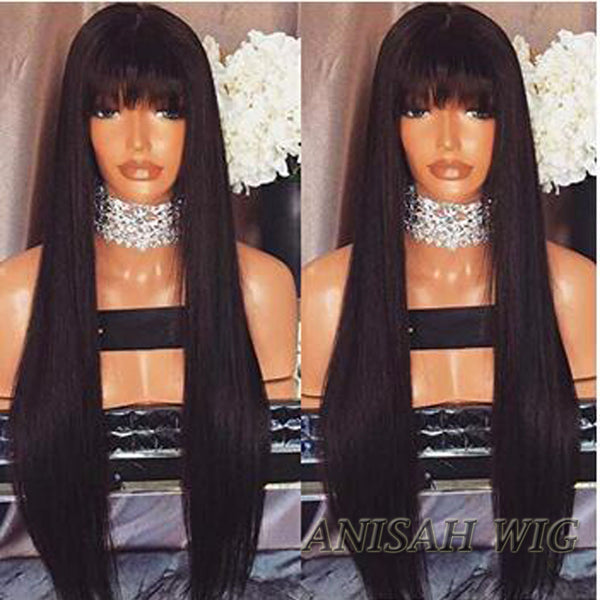 Silky Straight Human Hair Lace Front Wig/ Full Lace Wig with Bangs