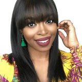 Straight Human Hair Short Bob Lace Front Wigs / 360 Lace Frontal Wig with Bangs