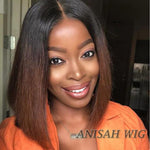 Ombre Short Bob Straight Lace Front Human Hair Wigs/Full Lace Wigs