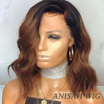Ombre 1b/30 Color Short Bob Wavy Lace Front Human Hair Wigs/Full Lace Wigs