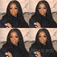 Brazilian Virgin Hair Long Curly 13X6 Lace Front Human Hair Wigs for Black Women