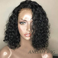 Human Hair Short Curly Bob Lace Front Wigs / 360 Lace Frontal Wig with Baby Hair
