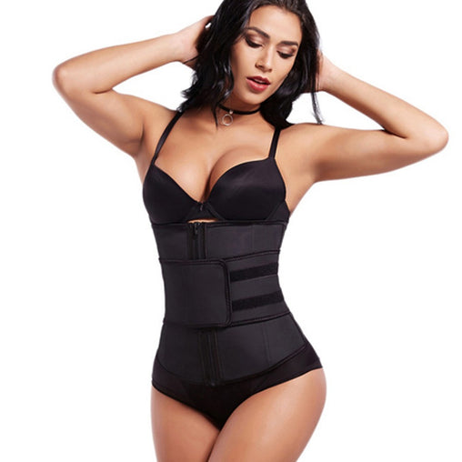5d145fb4b905c Abdominal Belt High Compression Zipper Plus Size Latex Waist Cincher Corset Underbust  Body Sweat Waist Trainer