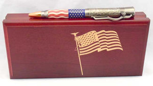 American Flag Antique Nickel Lever Action Ballpoint Click Pen