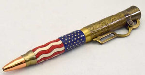 American Flag Antique Brass Lever Action Ballpoint Click Pen