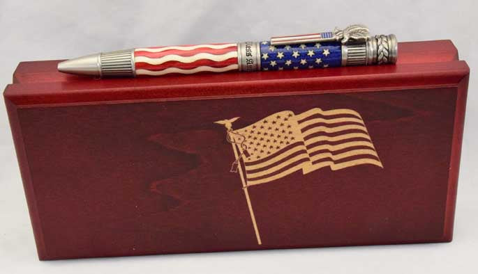 Inlay American Flag Antique Pewter Patriot Ballpoint Twist Pen