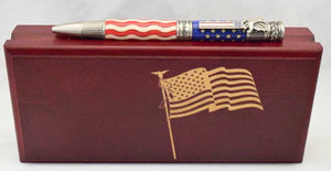 American Flag Antique Pewter Patriot Ballpoint Twist Pen