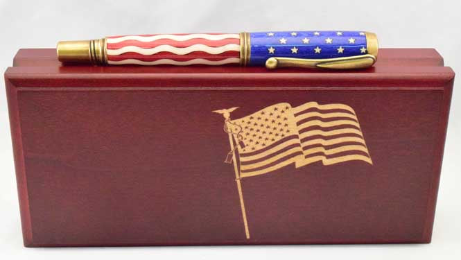 American Flag Antique Brass Venetian Pen - AF12