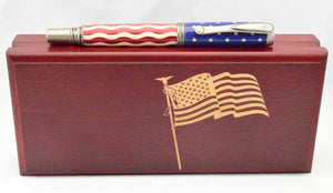 American Flag Antique Nickel Venetian Pen