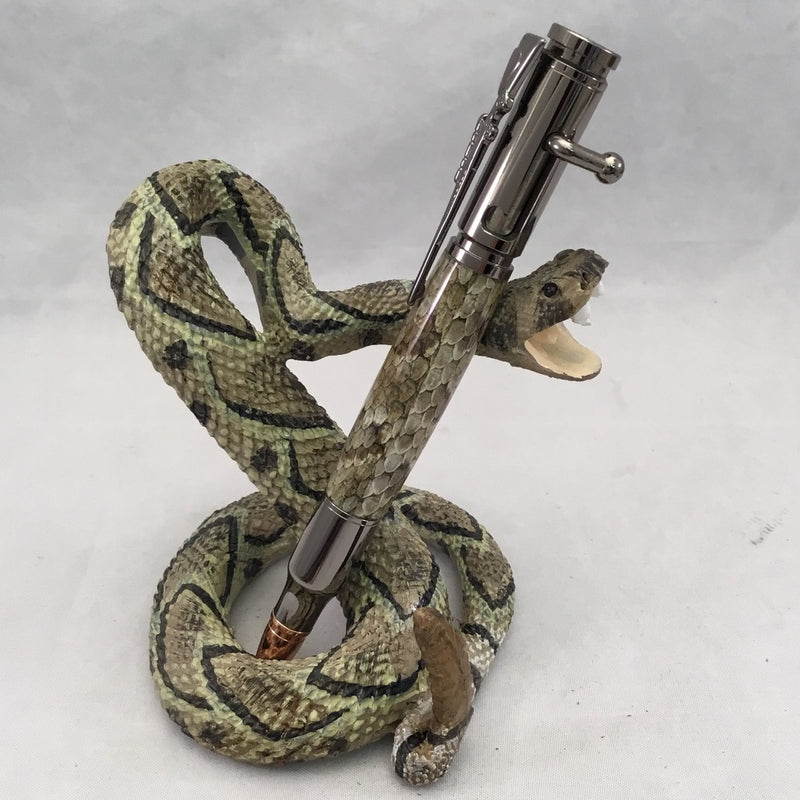Bolt Action Gun Metal Snakeskin Ballpoint Click Pen with Ceramic Snake Stand