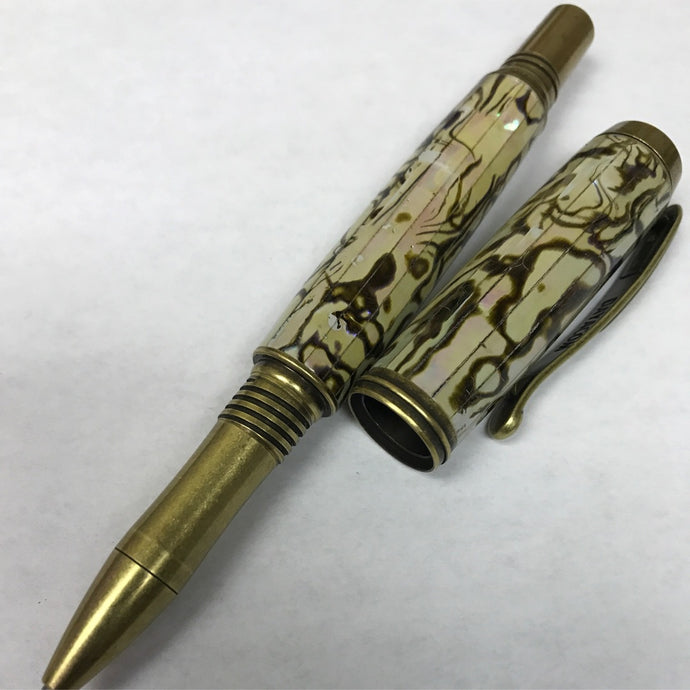 Abalone Mosaic Pearl Antique Brass Venetian Rollerball or Fountain Pen