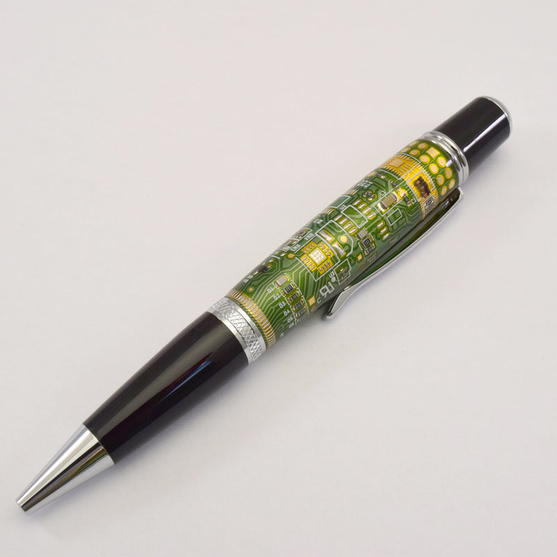 Circuit Board Vista Green Chrome Ballpoint Twist Pen