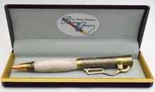 Load image into Gallery viewer, Deer Antler Lever Action Antique Brass Ball Point Pen
