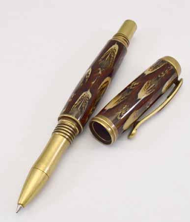 Ringneck Feather Antique Brass Venetian Rollerball or Fountain Pen - FR4