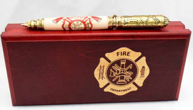 Inlay Firefighter Logo Twist Lock Ballpoint Click Pen